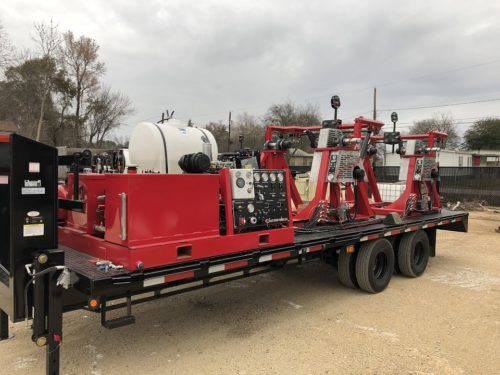C & C Fluid Power - dual strapping trailer gooseneck with mid spoolers